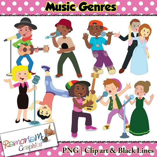 Music genre clip art set, depicting children that represent.