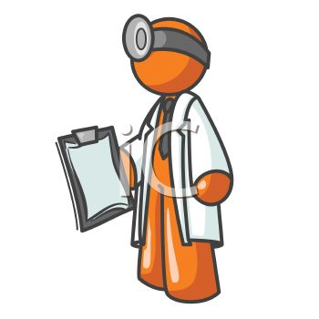 Orange Man Character Depicting a Doctor.