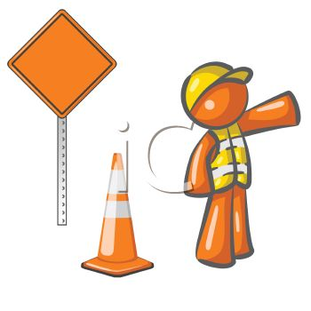 Royalty Free Clip Art Image: Orange Man Character Depicting a Road.