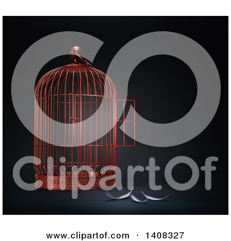 Clipart of a 3d Open Bird Cage with Feathers, Depicting Freedom.