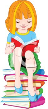 Girl Sitting on a Stack of Books Depicting Story Time.
