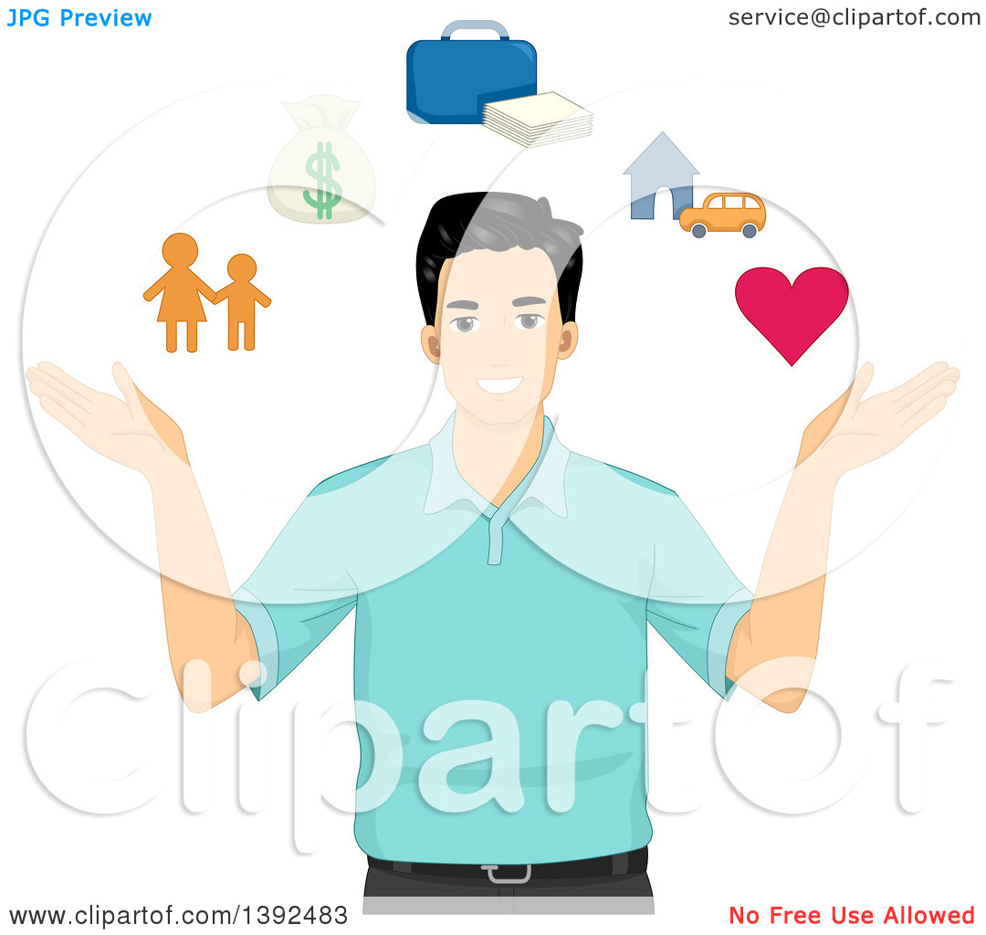 Clipart of a Happy Man with Icons Depicting Life.