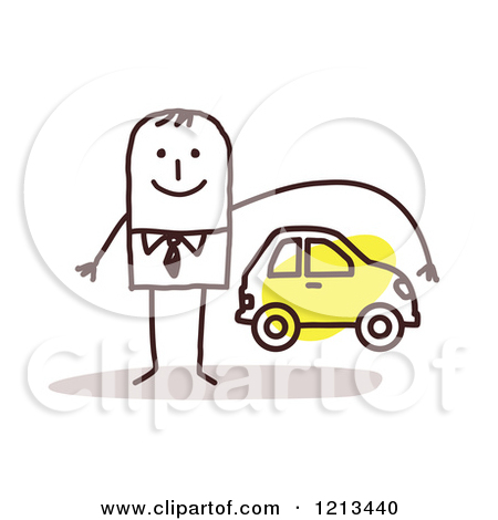 Clipart of a Stick People Man Depicting Car Insurance.