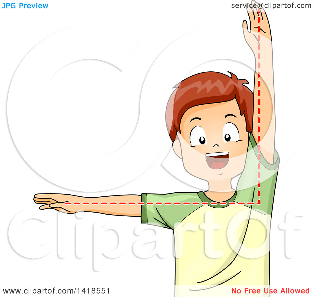 Clipart of a Brunette Caucasian School Boy Depicting a Right Angle.
