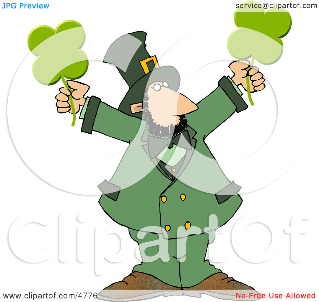 Clipart Modern Stereotypical Depiction of a Leprechaun Holding.