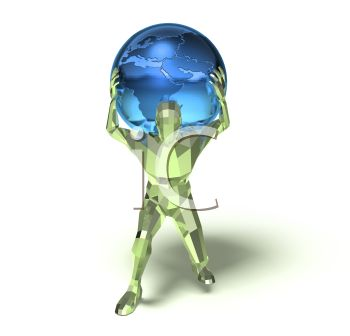 Royalty Free Clip Art Image: 3D Depiction of Atlas with the World.