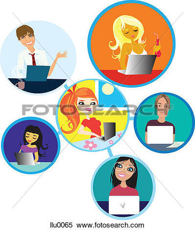Stock Illustration of A depiction of an online network of people.