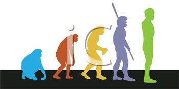 Royalty Free Clip Art Image: Evolution of Man Depiction.