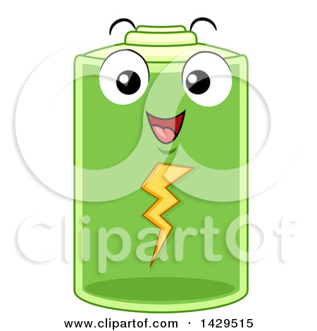 Clipart of a Depleted Battery Character.