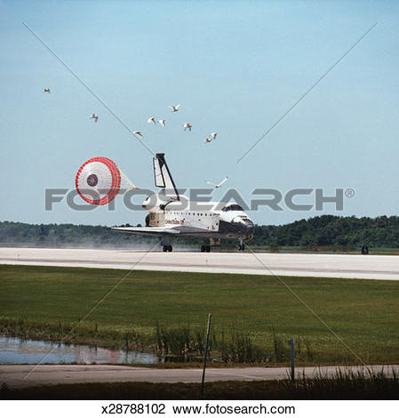 Stock Photo of The space shuttle landing with its drogue parachute.