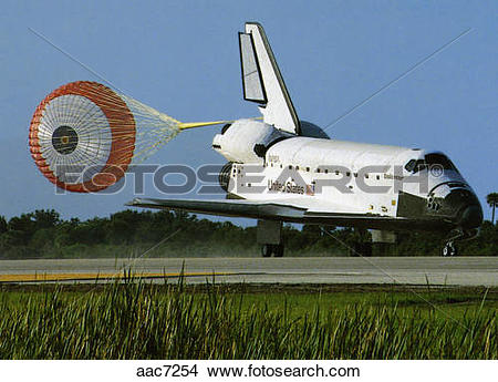 Stock Photo of Space shuttle landing with drag chute deployed.