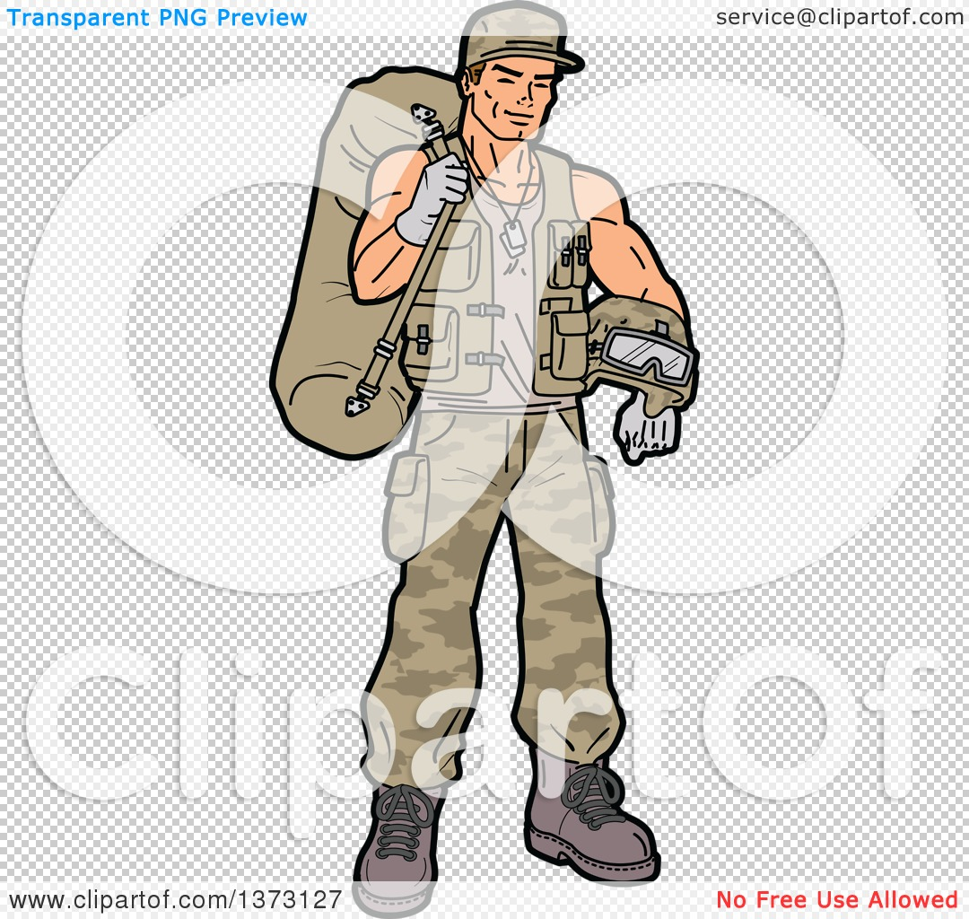 Clipart Of A Young White Male Soldier Carrying Gear.