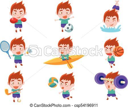 Chico deportista haciendo diferentes tipos de ilustraciones.