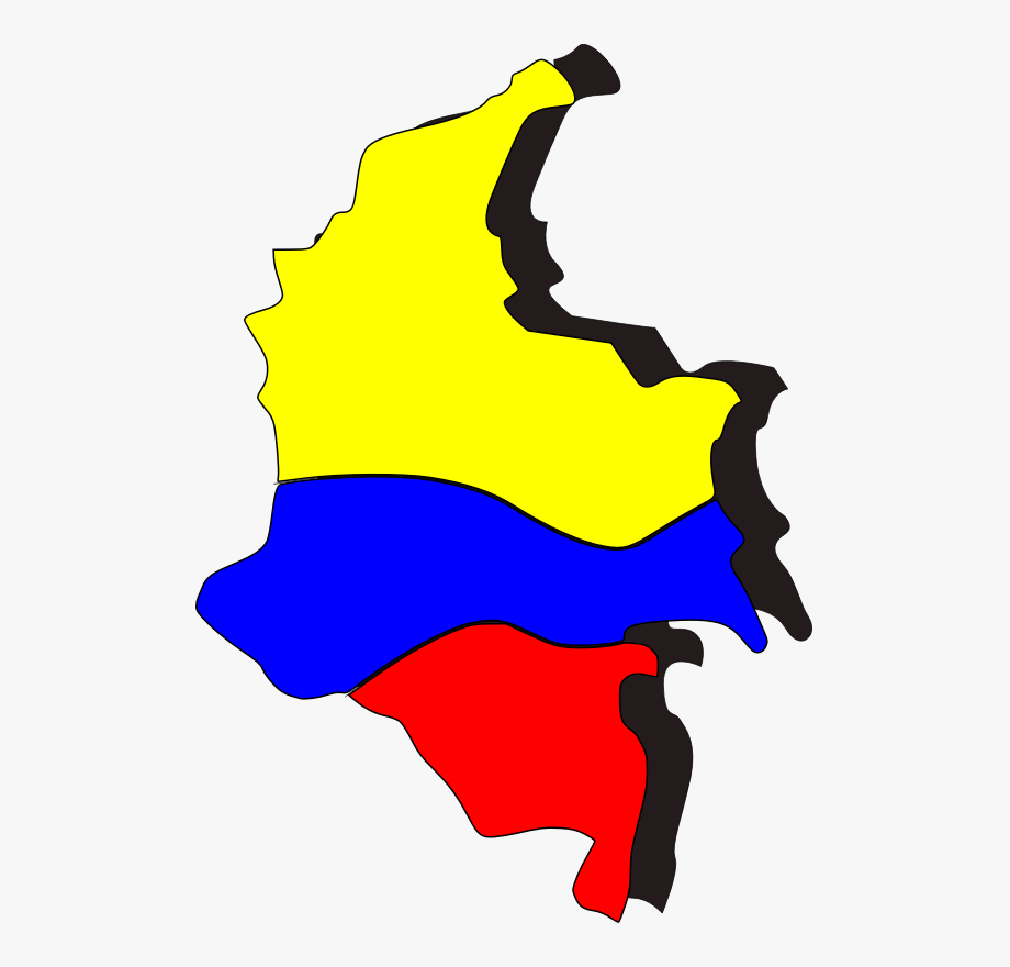 Flag Of Colombia Map Cartoon Symbol.