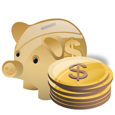 Cash, deposit, money, piggy bank, savings icon.