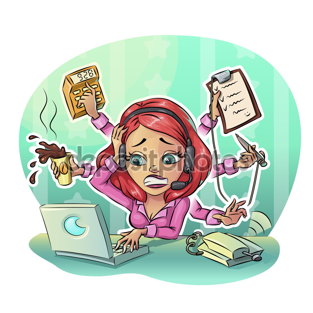 Business cartoon woman hard working in office. Many tasks concept.