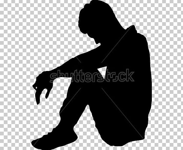 Silhouette Sadness Depression PNG, Clipart, Animals, Black.