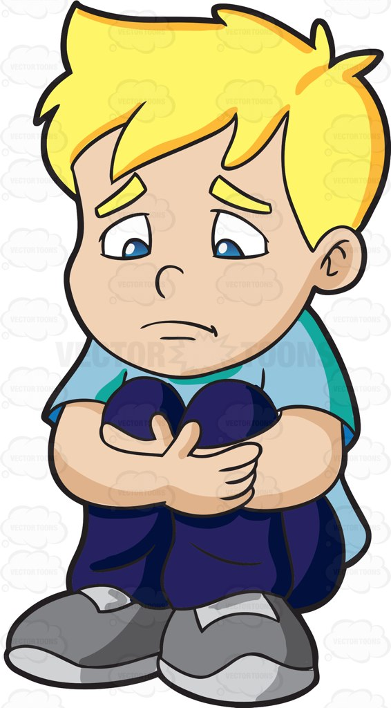 A Sad Boy Making Himself Feel Small Cartoon Clipart.
