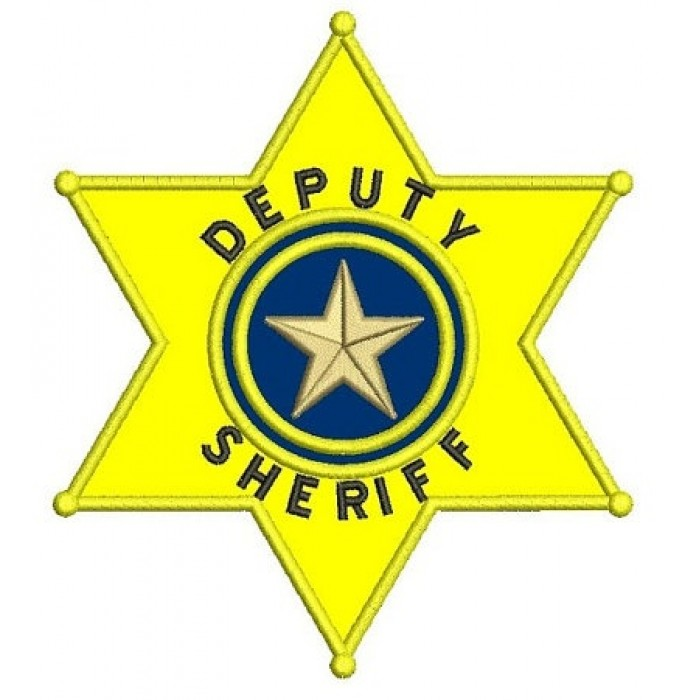 Deputy Sheriff Police Badge Applique Machine Embroidery Digitized Design  Pattern.