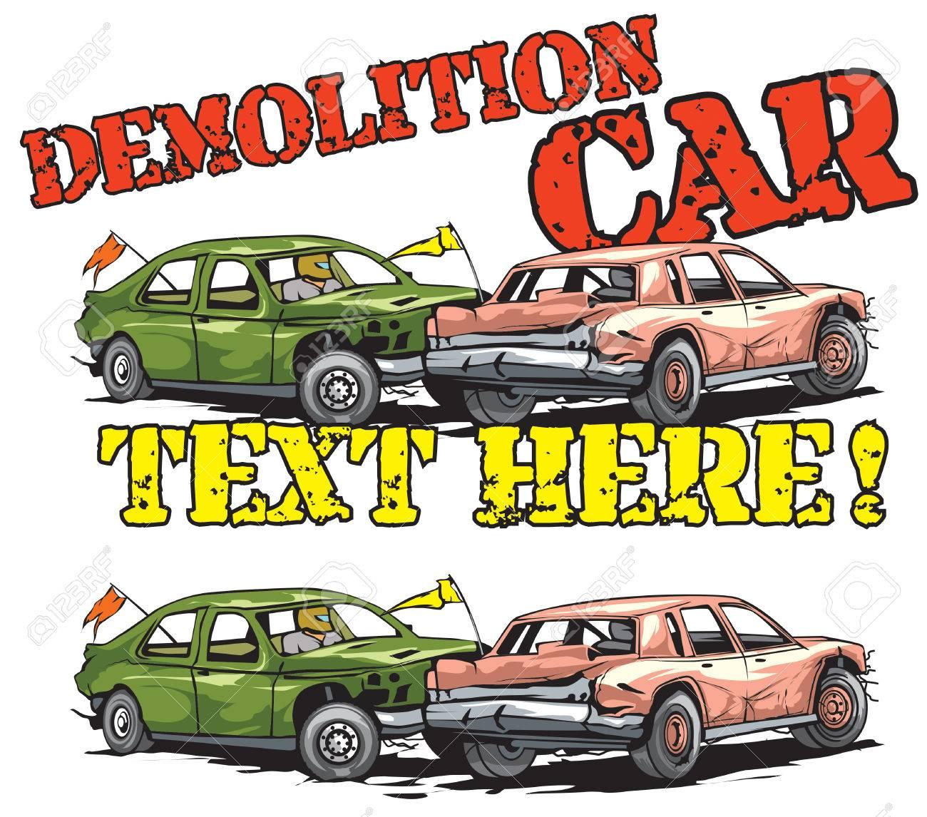 Demolition car derby icon design.
