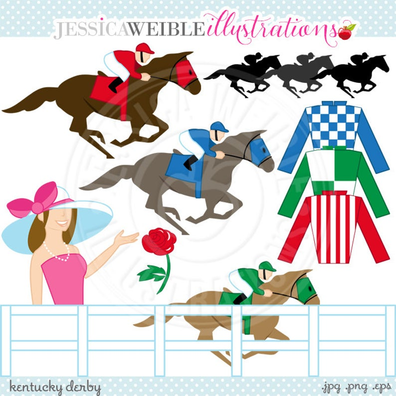 Kentucky Derby Cute Digital Clip Art.