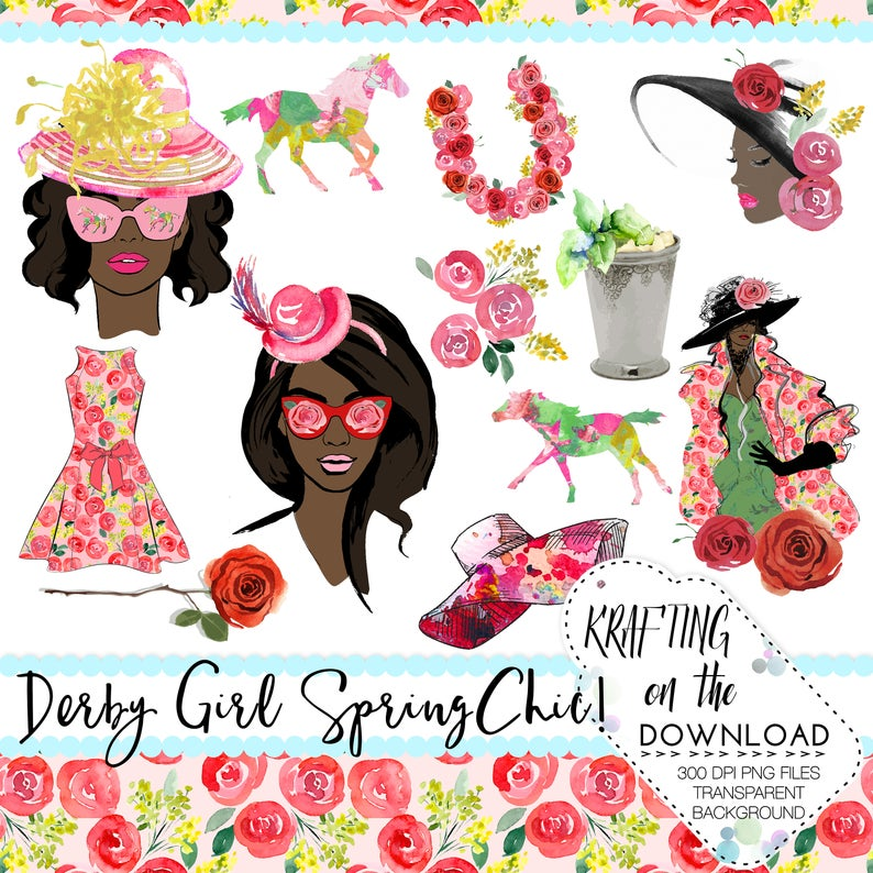 derby planner girl clipart png file derby fashion clip art set watercolor  rose clipart horse png file spring fashion african american girl.