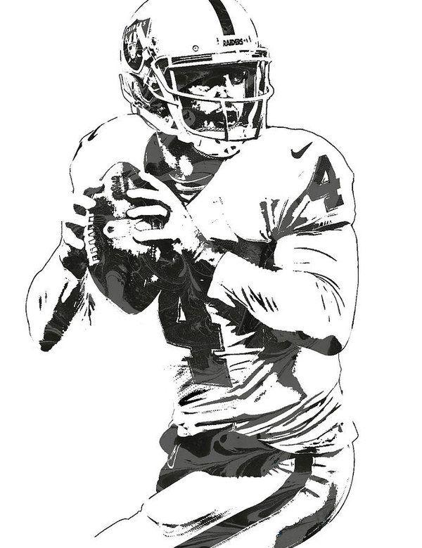 Derek Carr Oakland Raiders Pixel Art Art Print by Joe.