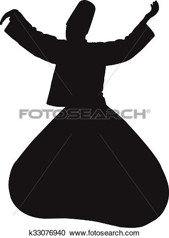 Clipart of black whirling dervish silhouette k33076940.