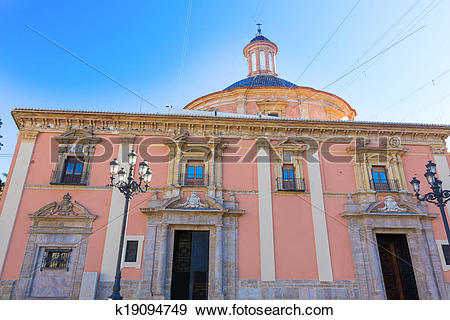 Stock Photograph of Valencia Basilica Desamparados church in Plaza.