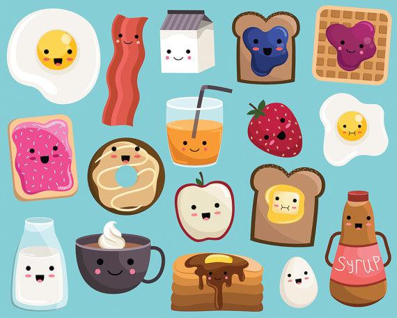 Kawaii Breakfast Food Clipart.