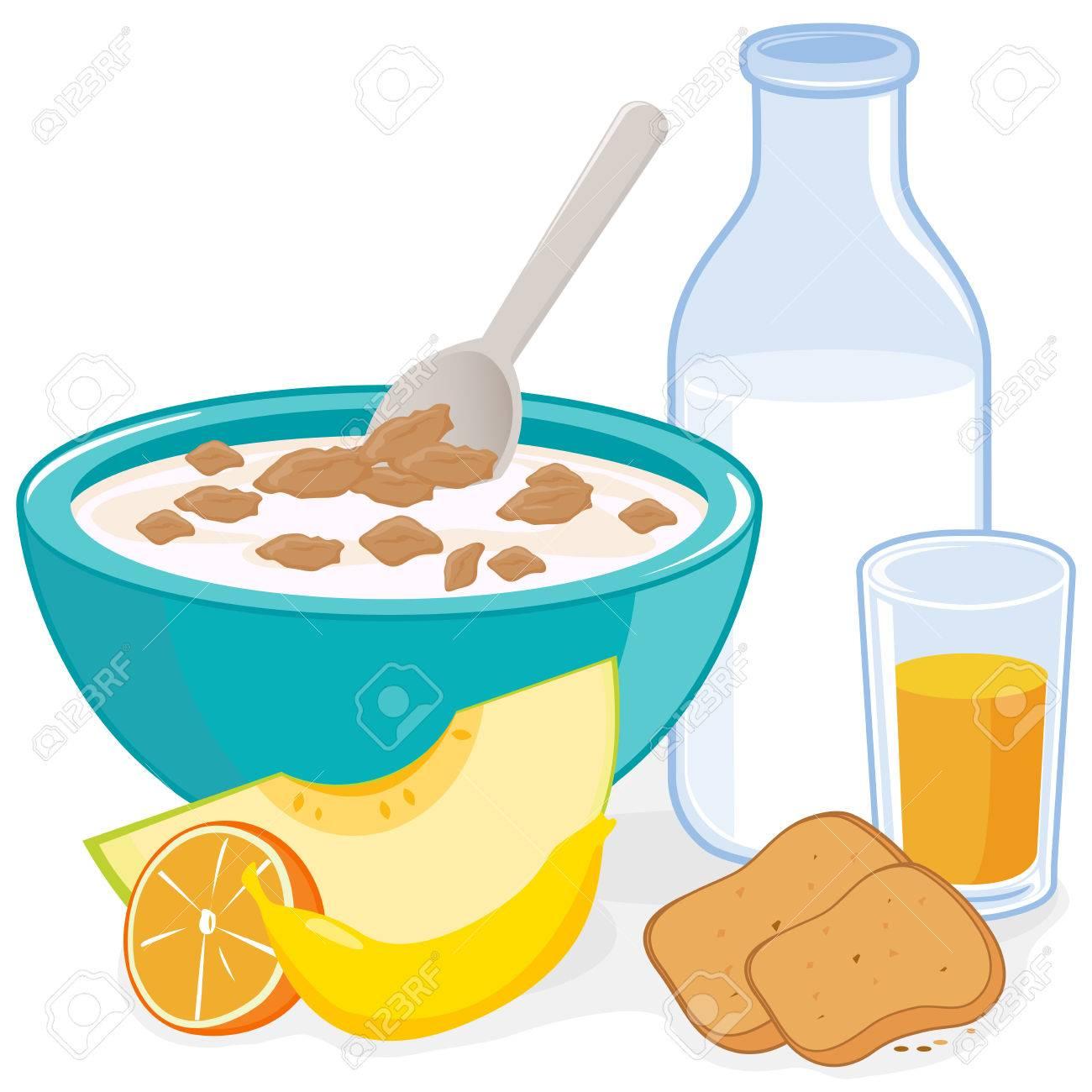 Desayuno. Un tazón de cereales, botella de leche, zumo, tostadas y frutas.