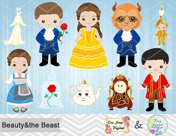 Digital Beauty and the Beast Clip Art, Instant Download.