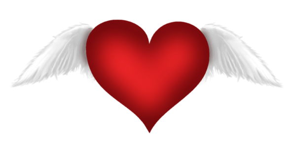 Red Heart with Wings Transparent Clipart.