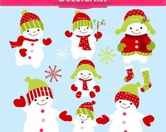 Frosty Friends Cute Digital Clipart, Christmas Clip art.