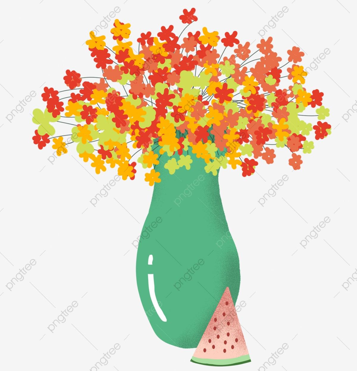 Gypsophila Sandia Florero Un Ramo De Flores Sandía Formato Png.