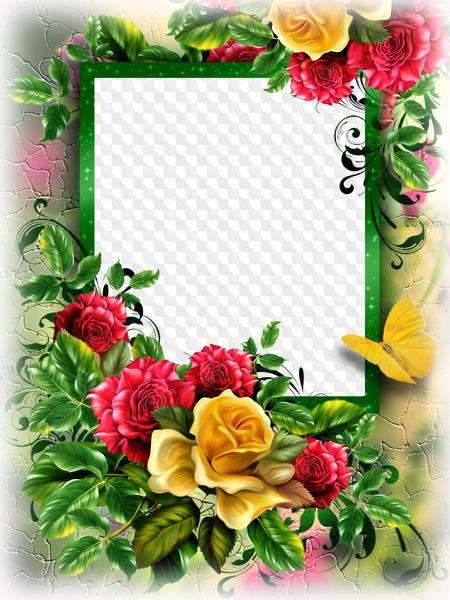 Marco de flores, marco de descarga para photoshop. Marco PNG.