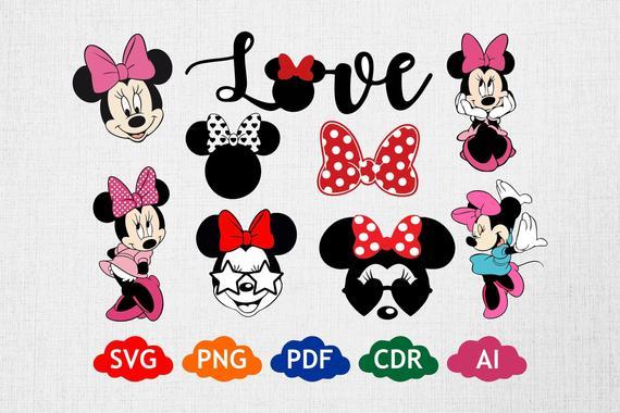 Disney SVG, Minnie Mouse, Minnie Bundle, Minnie Mouse.