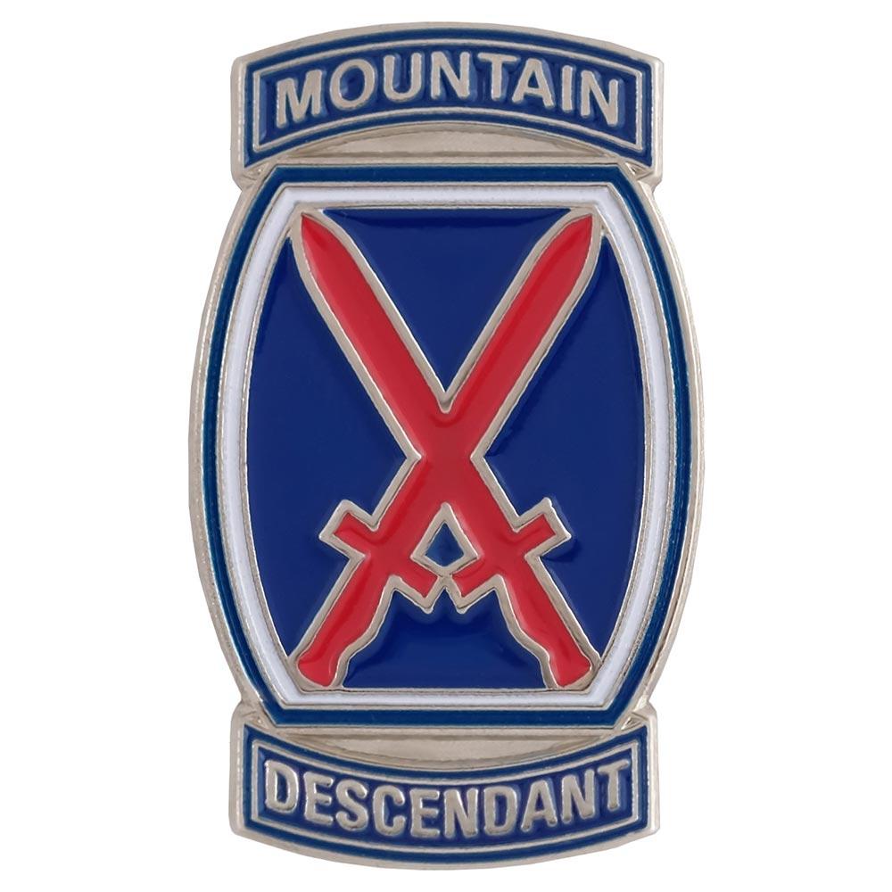 10th Mountain Division Logo Descendant Pin, 1 x 1 3/4 inches.