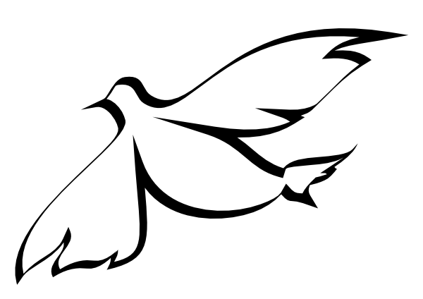 Christian clip art graphic descending dove solid white dove 2.