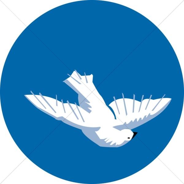 Descending Dove on Blue.