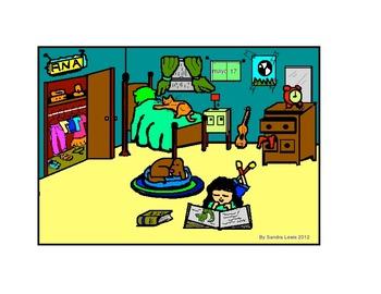 BEDROOM Spanish describing room color/BW activity.