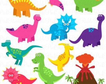Dinosaur ClipArt / Dinosaur Clip Art / Dino Clipart by.