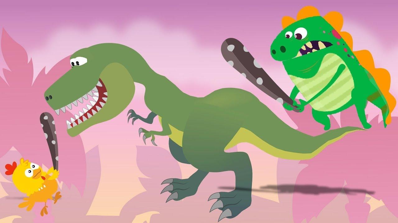 Dino e Dina Dinossauros em: Caçando Dinossauros.