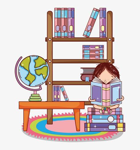 Menina, com, livros, desenhos animados.
