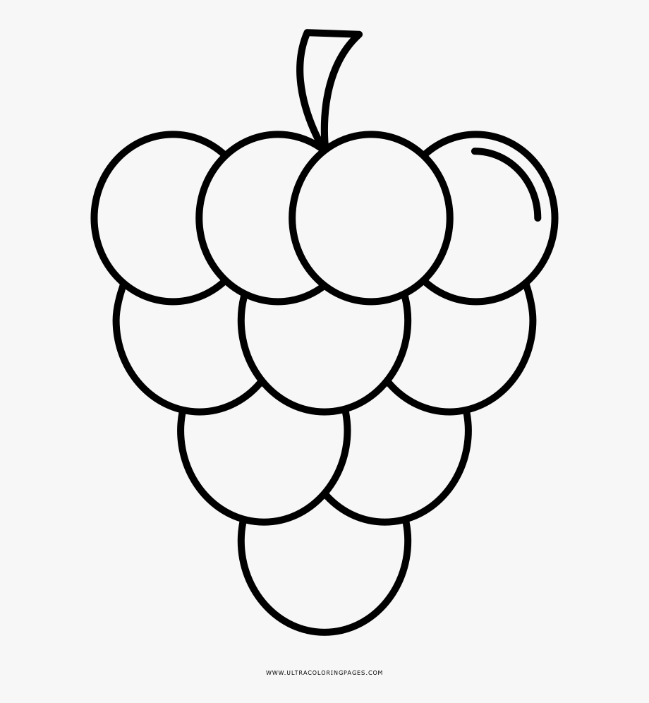 Grapes Clipart Coloring Sheet.
