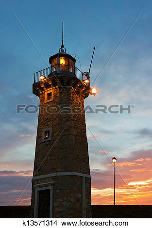 Stock Photo of Desenzano del Garda Old Lighthouse and a Lamp Post.