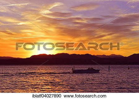 """Stock Photography of """"Boat on Lake Garda, Lago di Garda, with."""