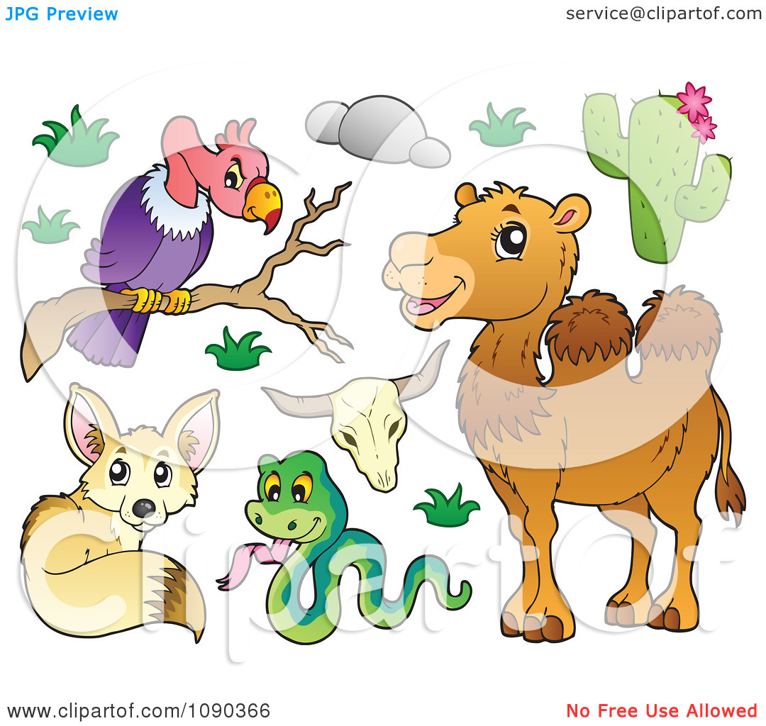 Clipart Vulture Snake Fox And Camel Desert Animals.