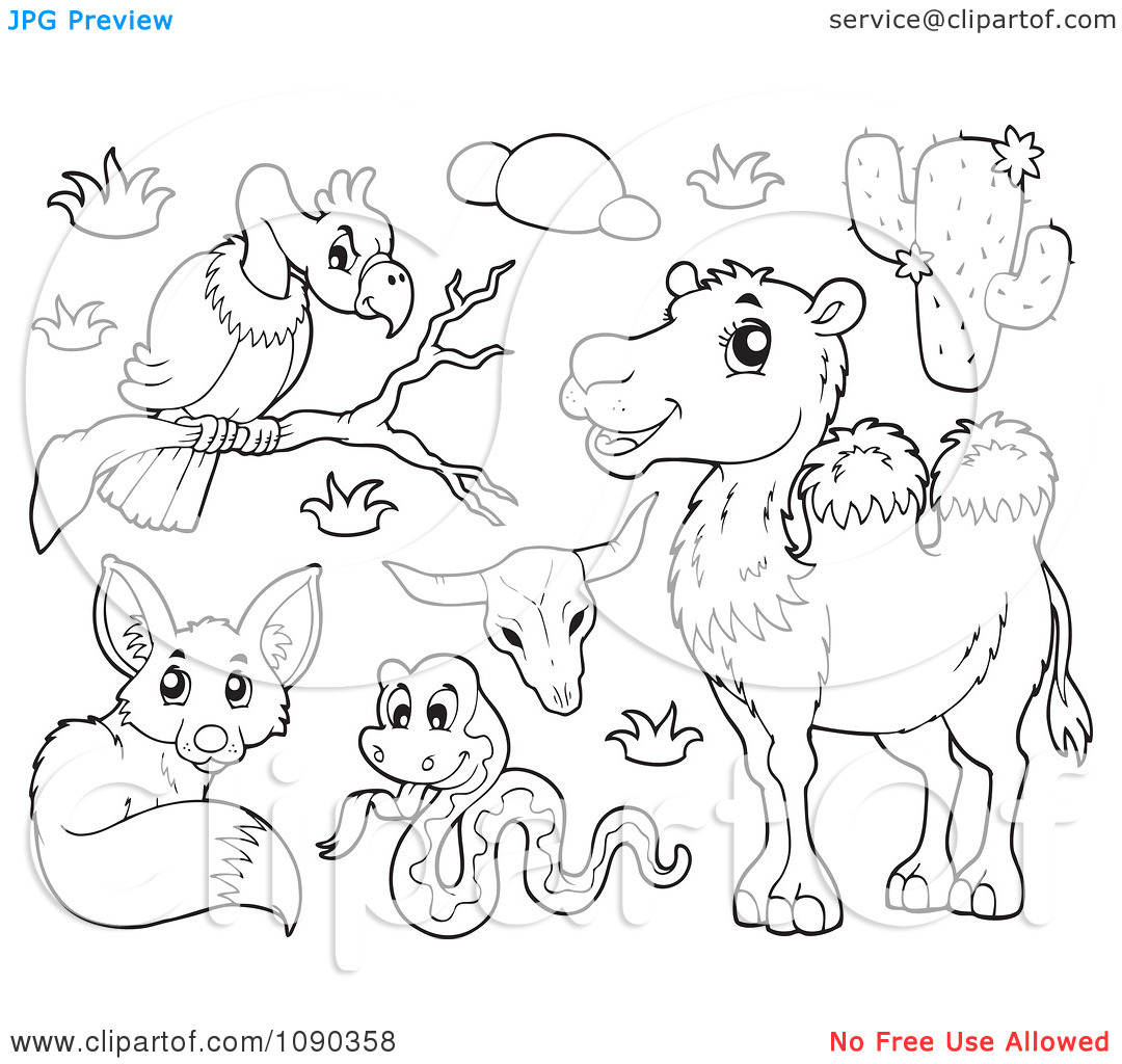 Clipart Outlined Vulture Snake Fox And Camel Desert Animals.
