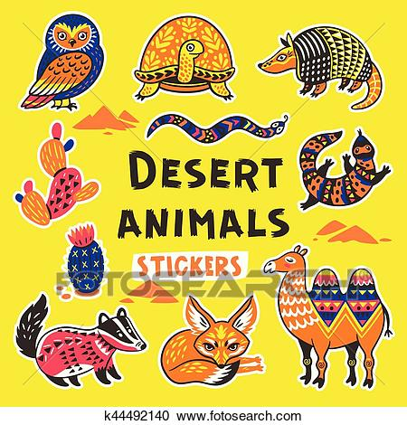 Sticker set with desert animals Clipart.